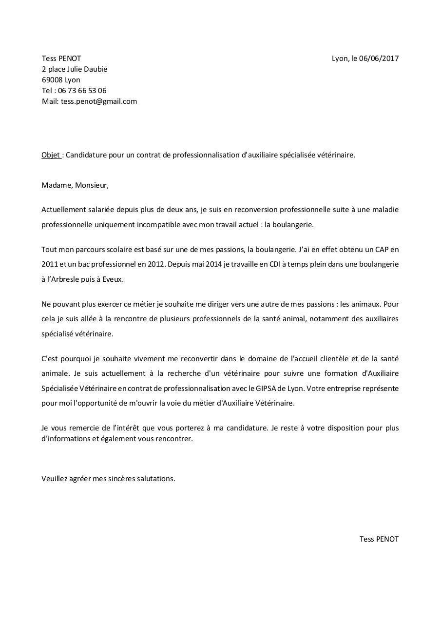 Lettre De Motivation Contrat De Professionalisation Par