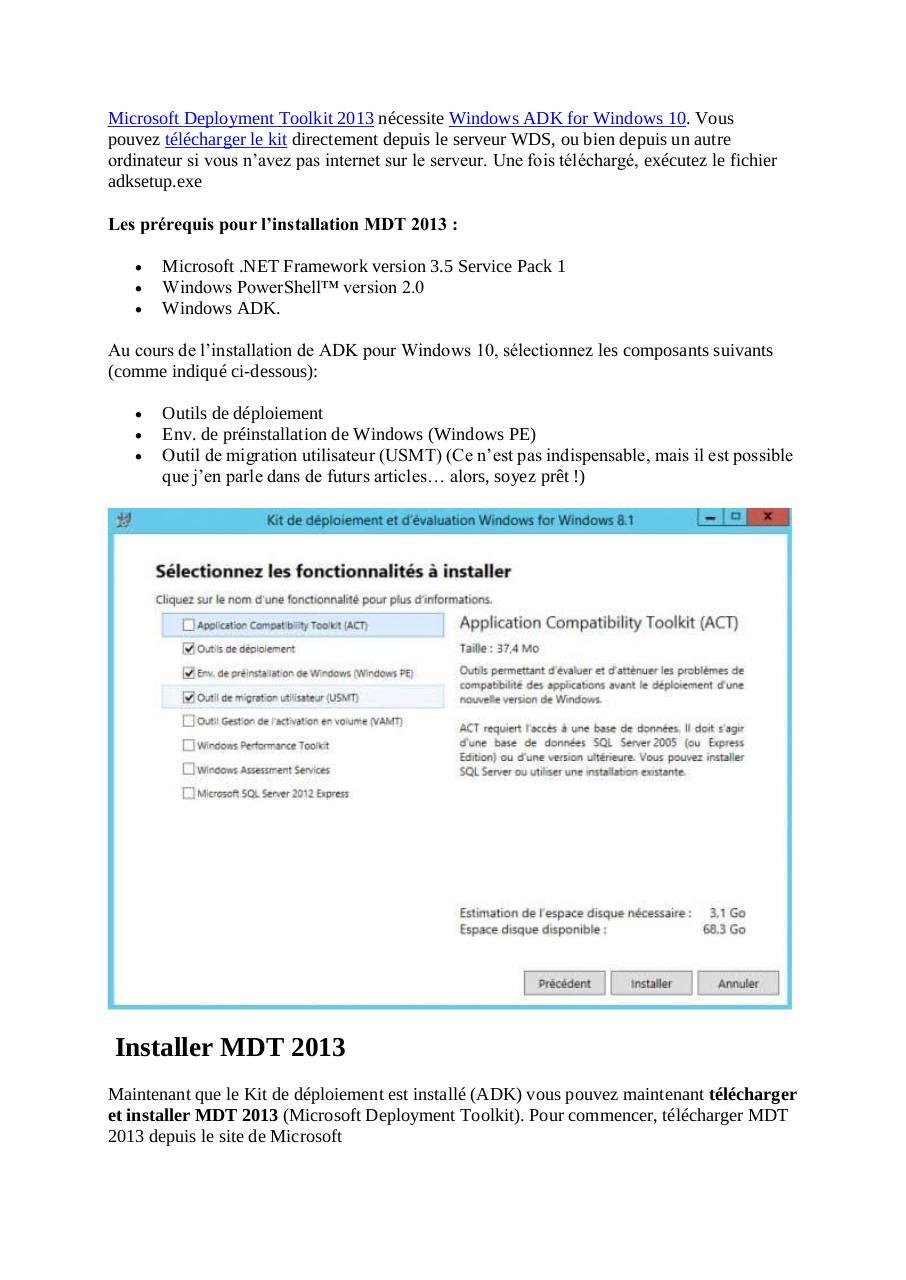 Microsoft Deployment Toolkit 2013 par Thibault Crestin - Fichier PDF