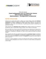 fiche mission expert pedagogique khan academy 1