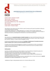 seb ingenieur qualite conception alternance 2017