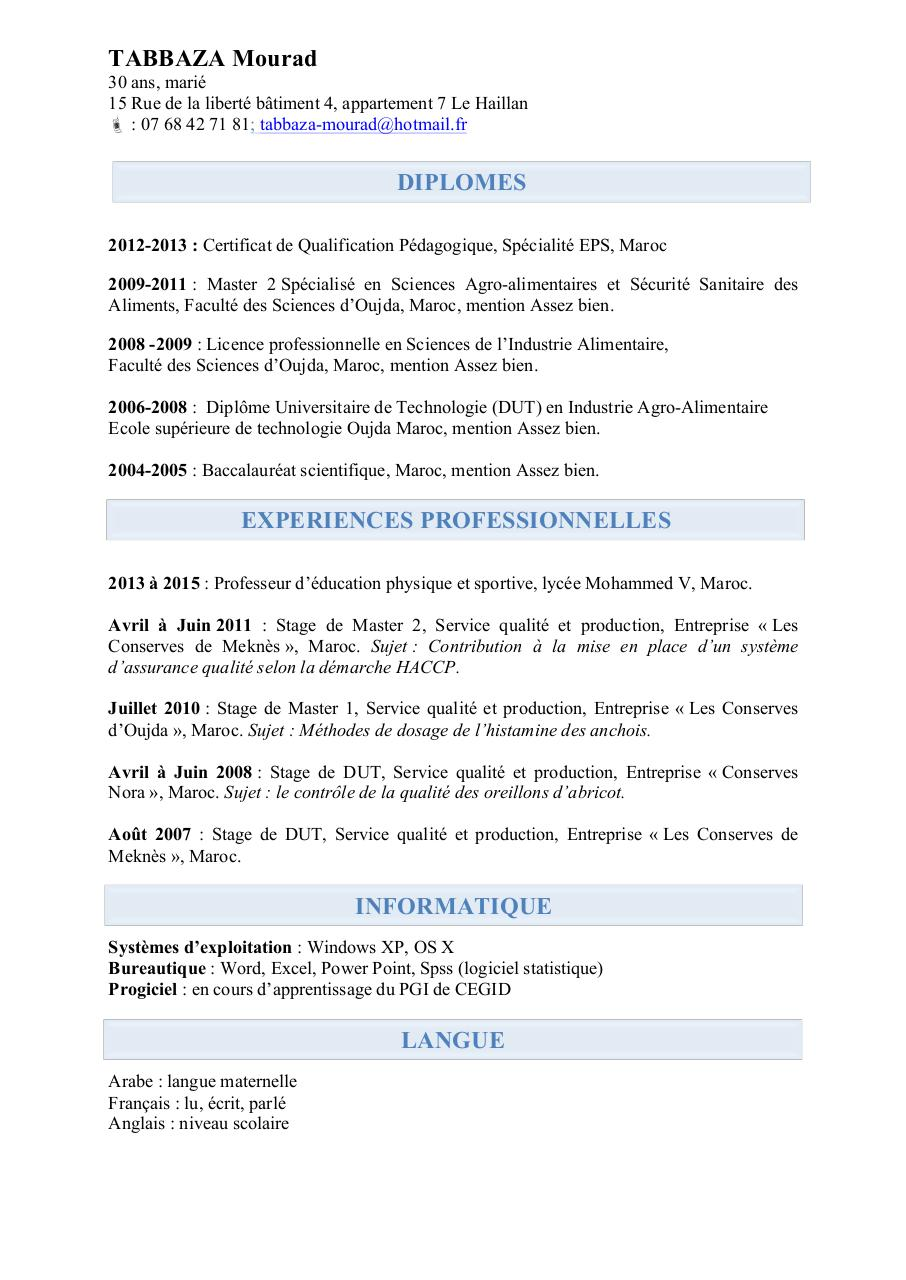cv licence pro fromagerie  technologie  innovation