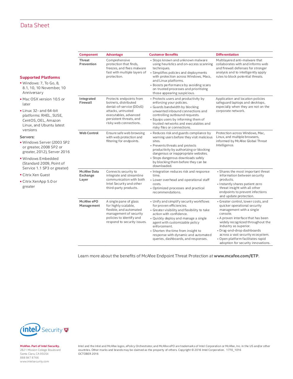 McAfee Endpoint Threat Protection Data Sheet - ds-endpoint-threat