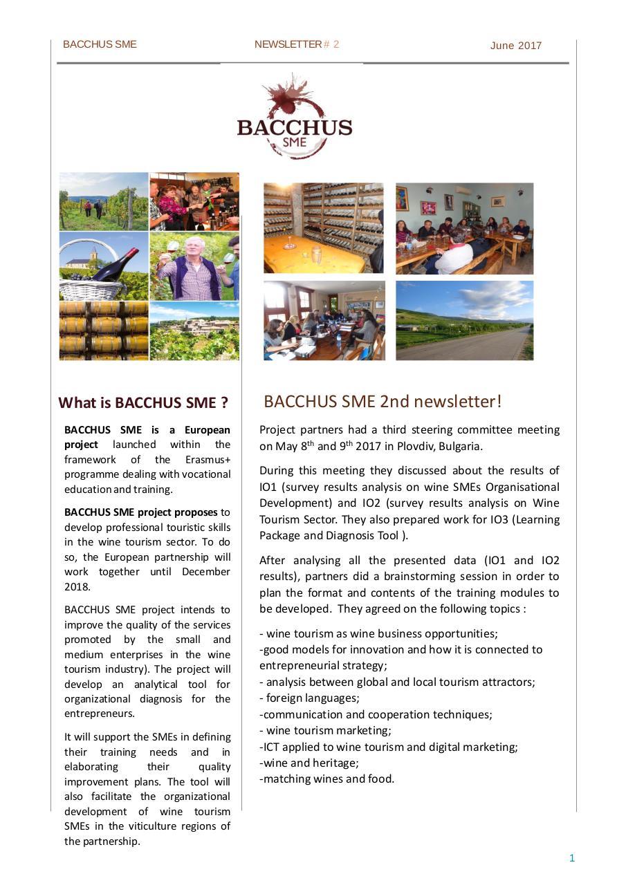 Présentation PowerPoint par Fabien - Newsletter 2 EN BACCHUS SME 2