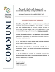 communiquE travaux rEfection saint gabriel sud