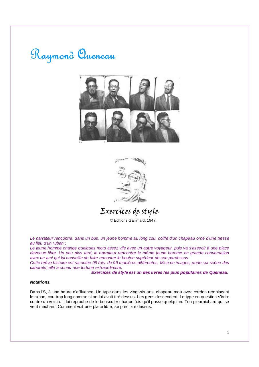 Exercices De Style Queneau Raymond 1 Par Raymond Queneau Fichier Pdf