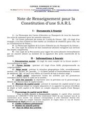 fiche d informations pour la constitution d une s a r l
