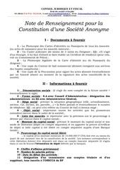 fiche d informations pour la constitution d une s a