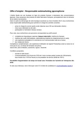 emploi responsable marketing