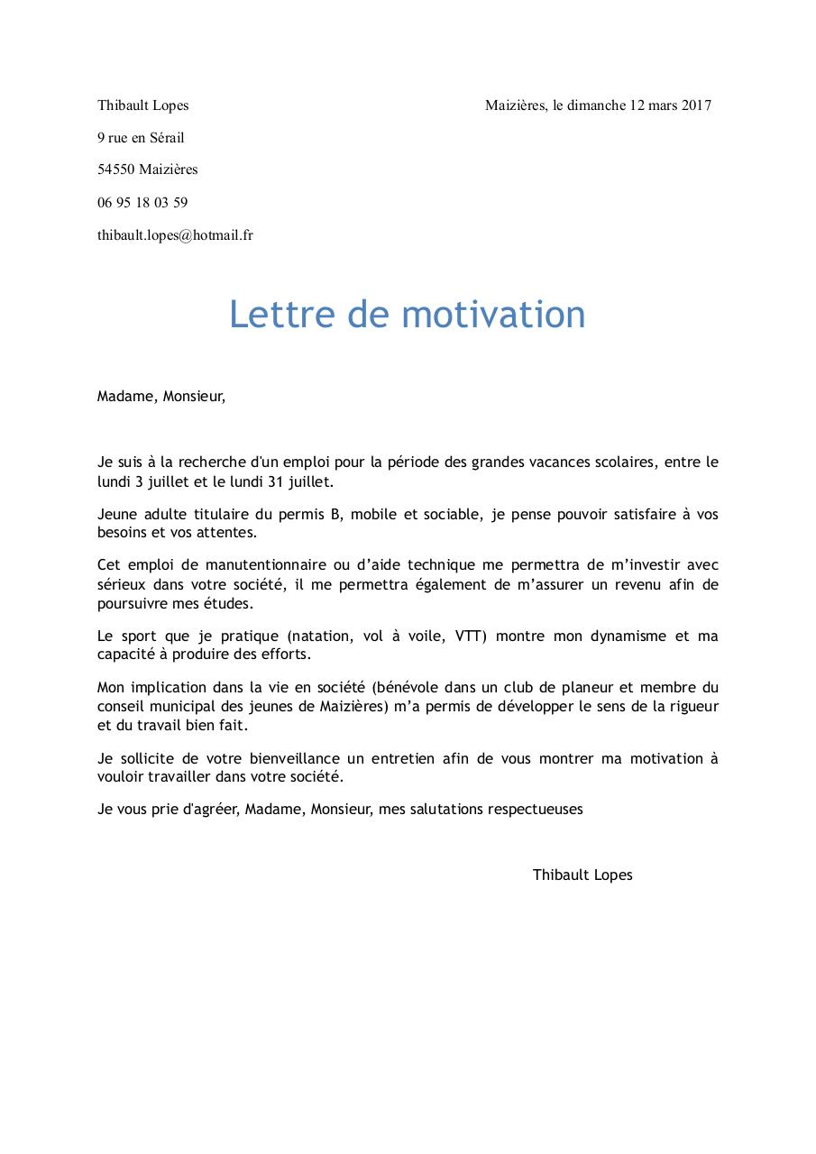 manutentionnaire lettre de motivation