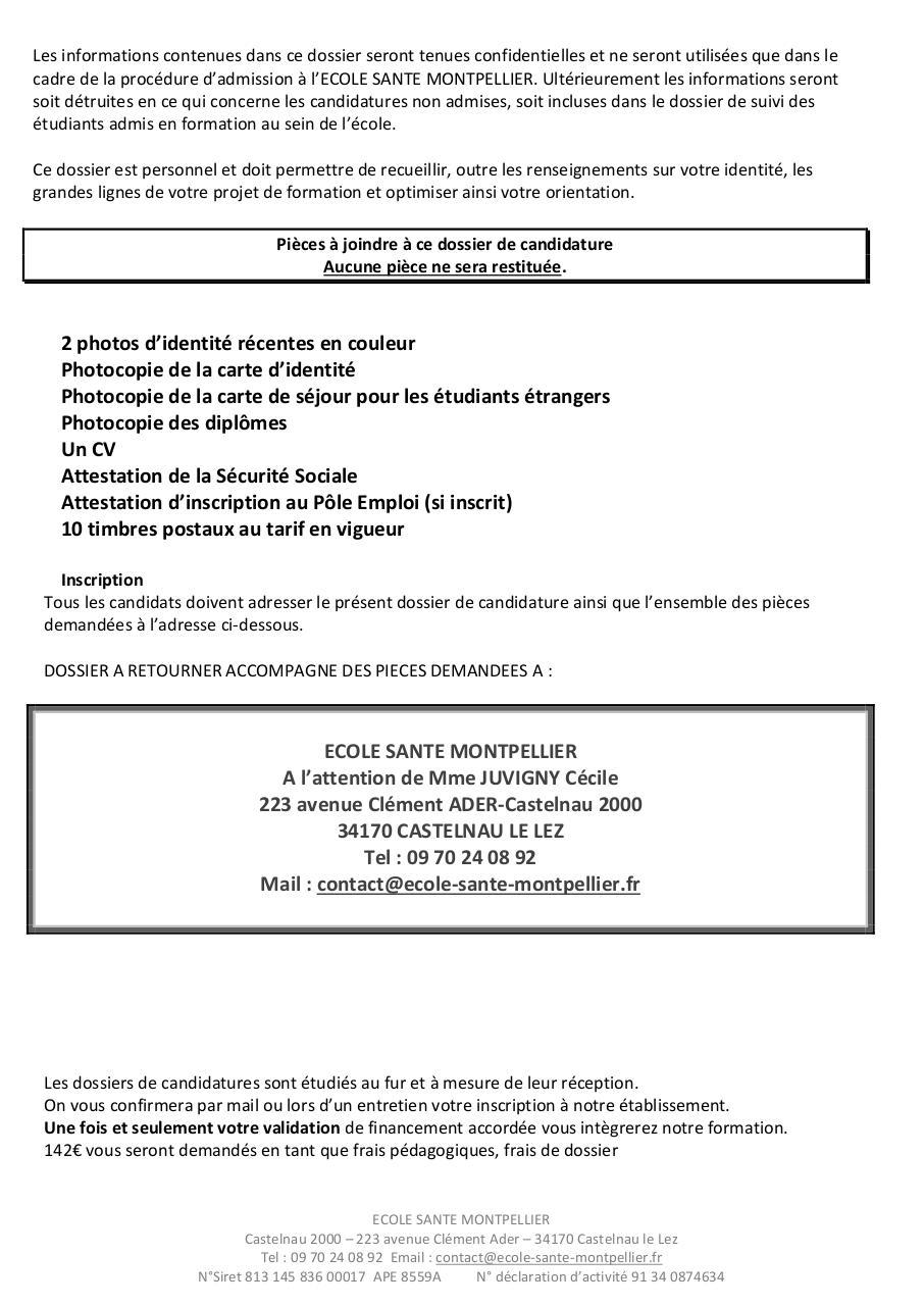 Dossier De Candidature Par C Juvigny Fichier Pdf