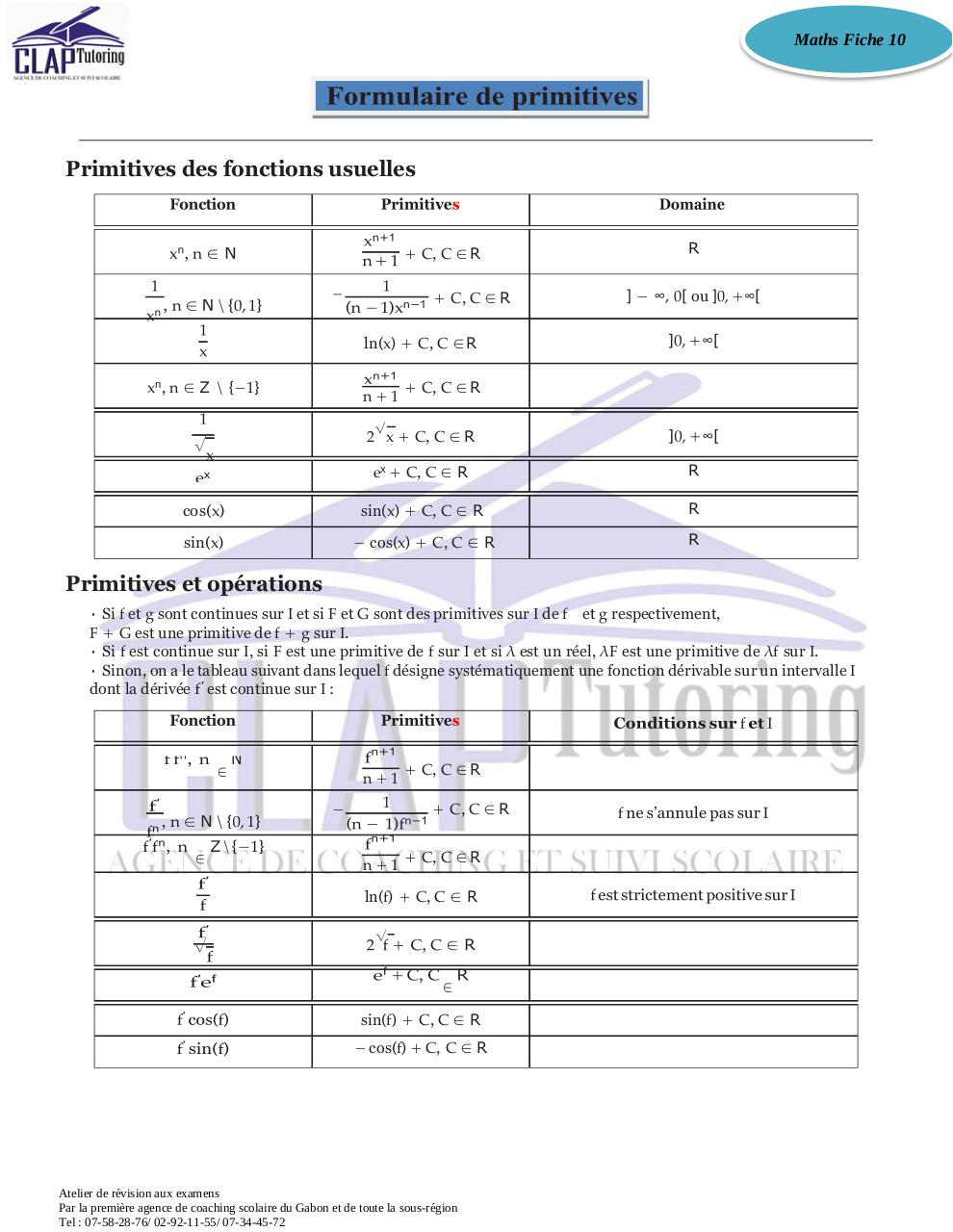 Aperçu du document Fiche 10 Formules Primitives.pdf - page 1/1