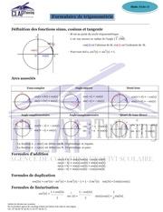fiche 11 formules trigonometrie
