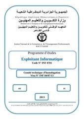 programme exploitant 2013