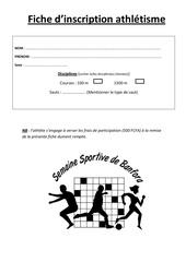 fiche inscription athletisme