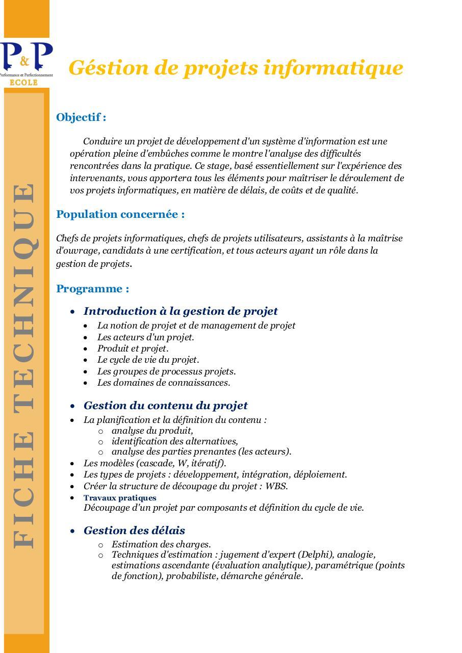 Methode de gestion de projet informatique pdf files