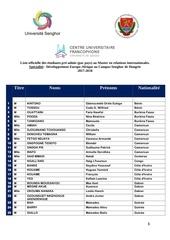 liste des e tudiants retenus 2017 2019
