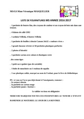 liste fournitures ms gs