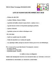 Fichier PDF liste fournitures ms gs
