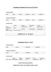 planning semaine du 03 au 07 2