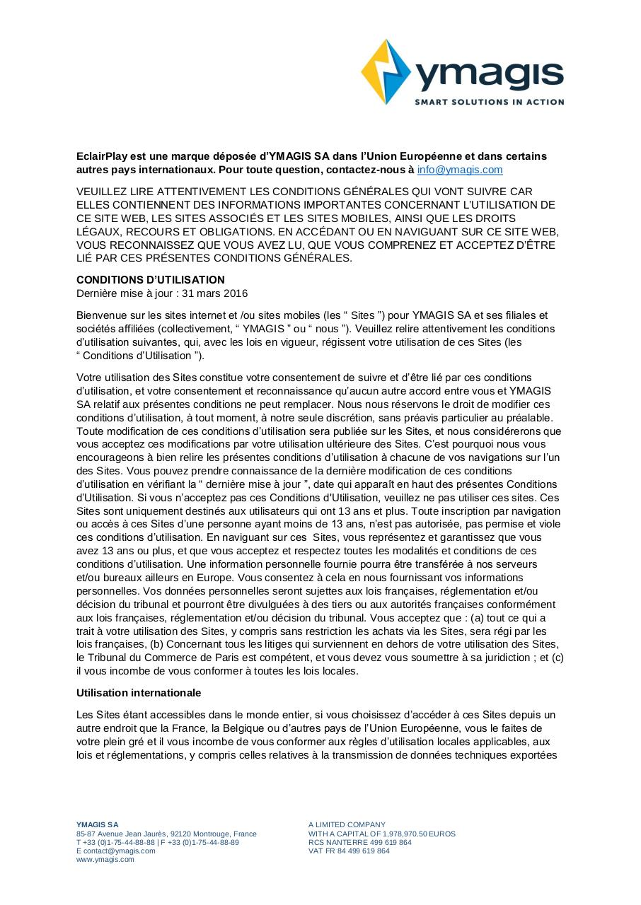 Aperçu du document CONDITIONS GÉNÉRALES D'UTILISATION_Terms of Use_FR.pdf - page 1/5