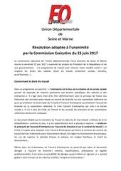 resolution commission executive 77 du 23 juin 2017
