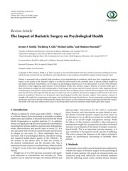 impact of bariatric surgery on psychological health