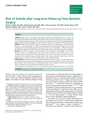 risque of suicide afetr bariatric surgery