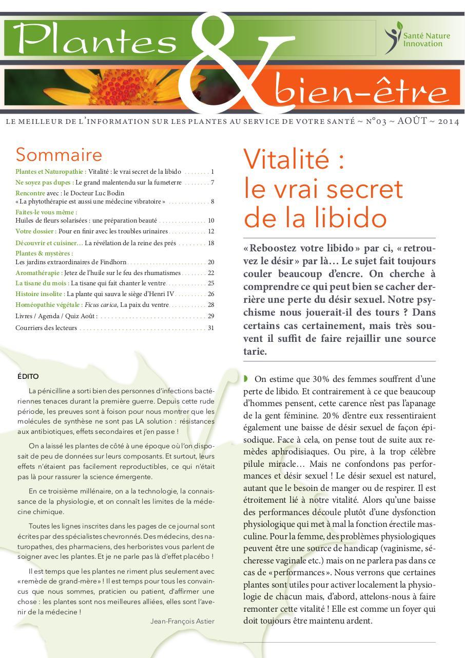 Web Plantesbienetre 03indd N3 2014 Aout Libido Pdf Fichier Pdf