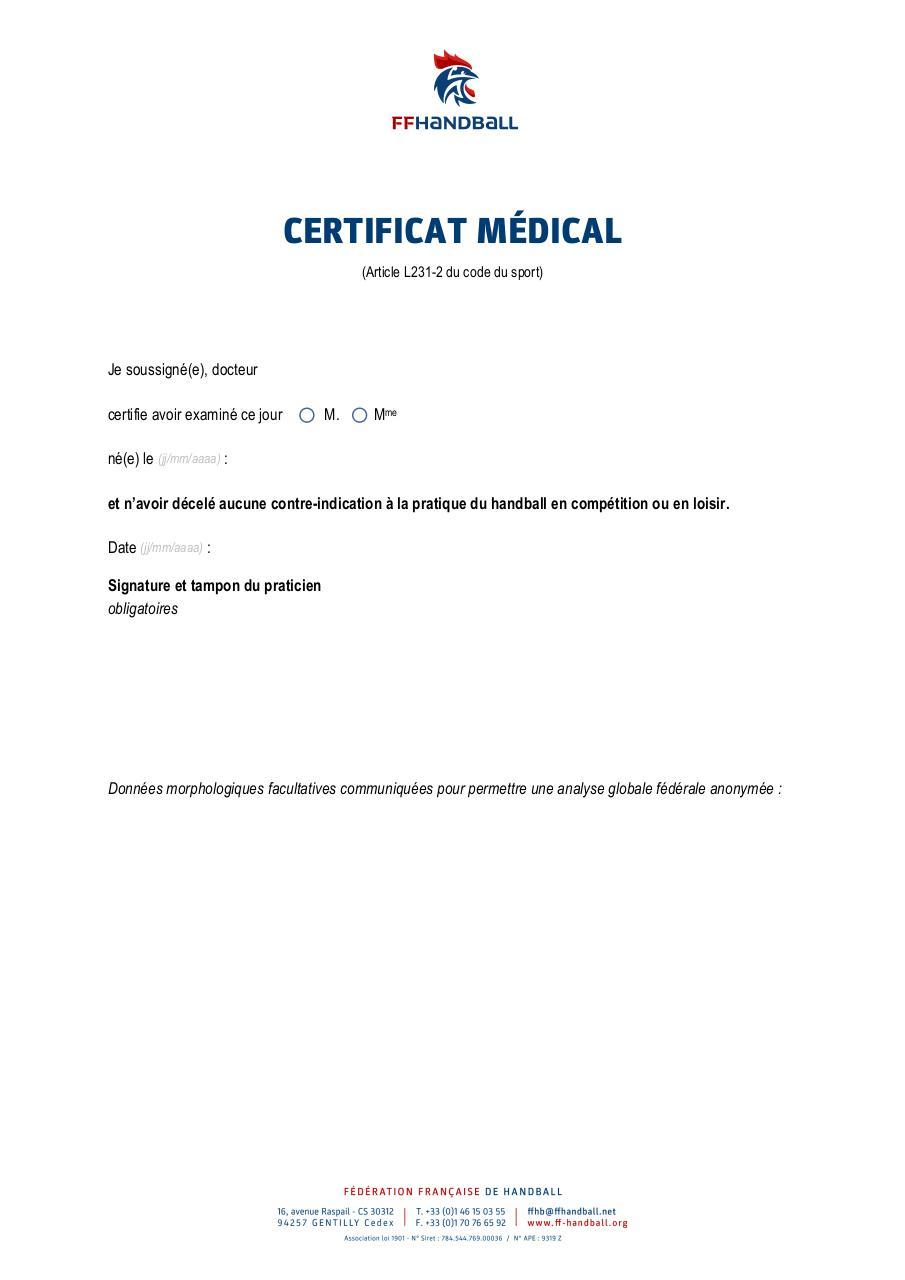 Certificat Medical Docx Certificat Medical Pdf Fichier Pdf
