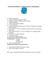 Fichier PDF liste de fournitures scolaires pour les maternelles