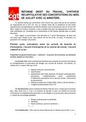 synthese concertation de juillet loi travail