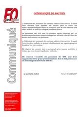 communique de soutien aux sapeurs pompiers