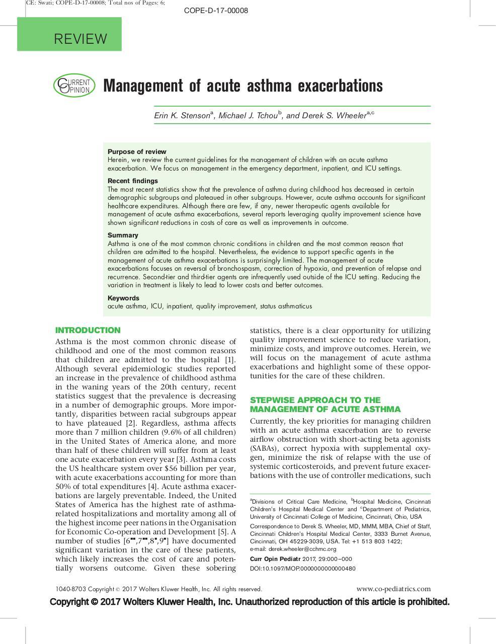 Thomson - Management of acute asthma exacerbations pdf