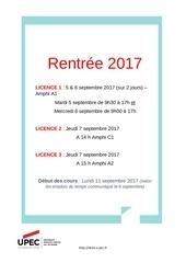 calendrier de rentre e des licences droit 2017 2018