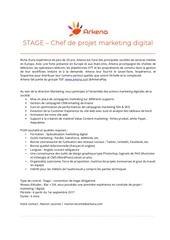 stagiaire chef de projet marketing digital