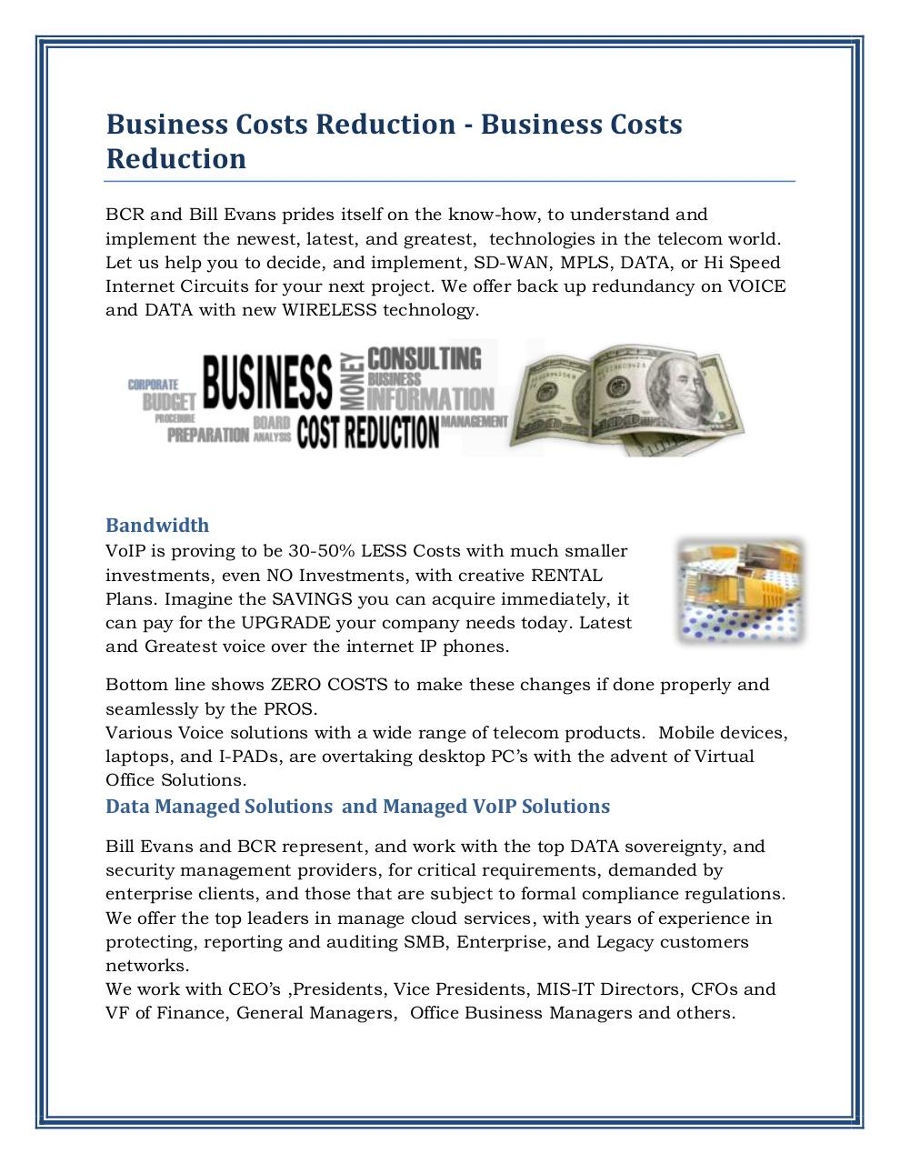 Bill Evans Cost Savings Ideas.pdf - page 1/2