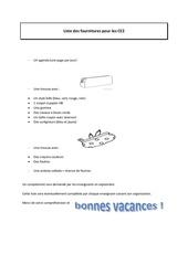 Fichier PDF fournitures scolaires pour les ce2