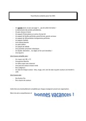 Fichier PDF fournitures scolaires pour les cm1