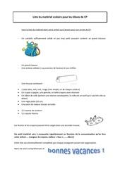 Fichier PDF fournitures scolaires pour les cp