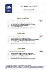 licences et tarifs