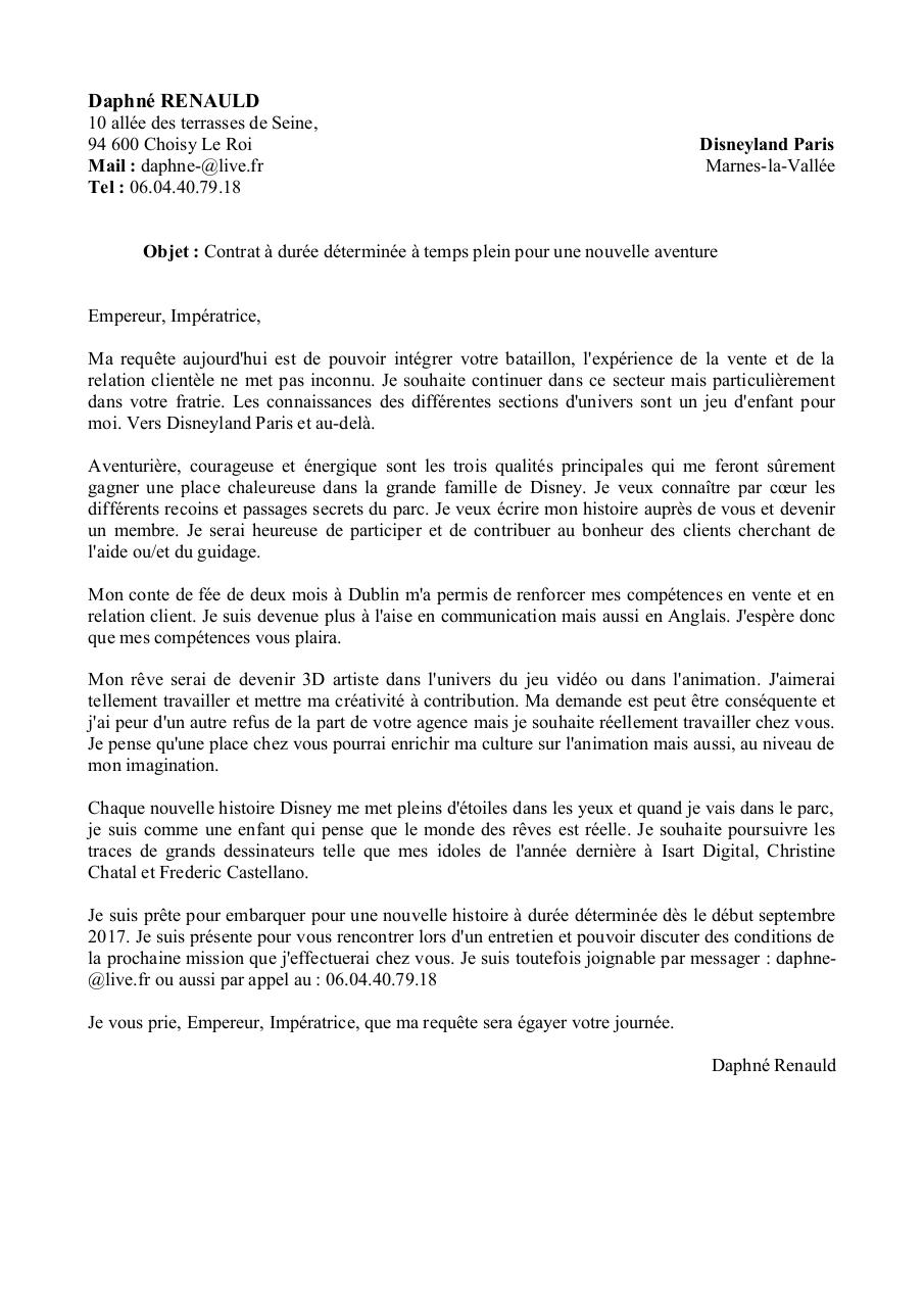 exemple lettre de motivation disneyland paris Lettre De Motivation Disneyland | passieophetplatteland exemple lettre de motivation disneyland paris