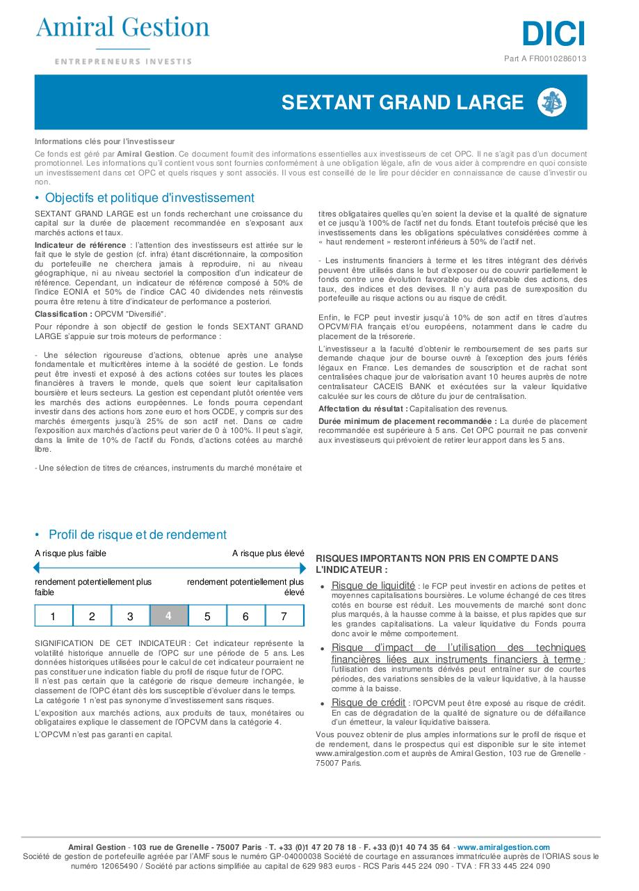 Aperçu du document DICI Sextant Grand Large - Part A - DICI.pdf - page 1/2