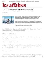 les 12 commandements de l investisseur lesaffaires