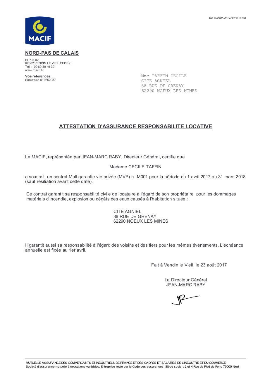 Recherche Pdf Attestation Responsabilite Civile Macif