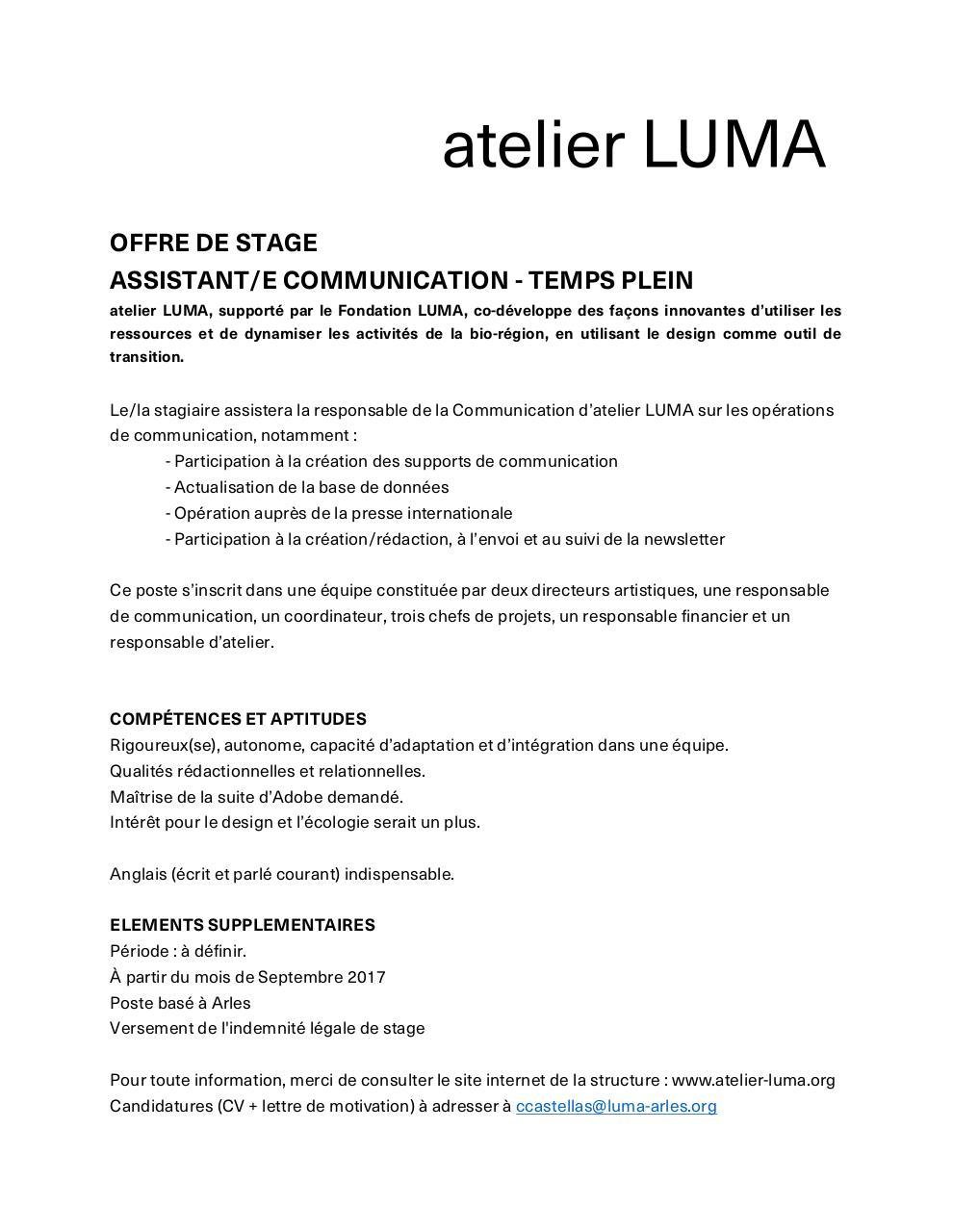 Offre De Stage Docx Offre De Stage Luma Pdf Fichier Pdf