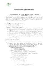 programme detaille de la formation opqf