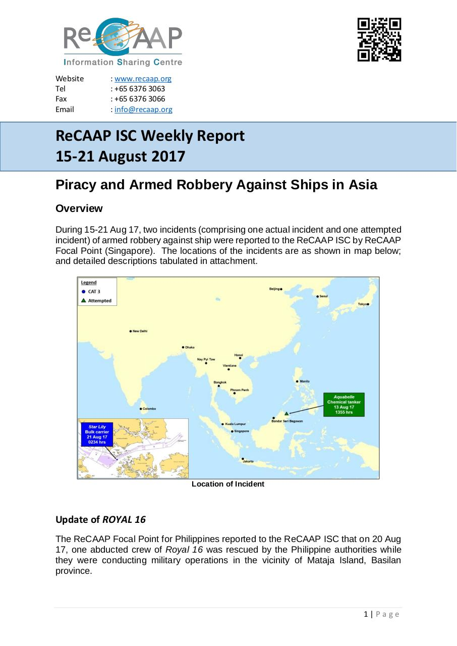 ReCAAP ISC July 2017 Report (15-21 Aug 17).pdf - page 1/3