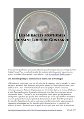 les miracles posthumes de saint louis de gonzague