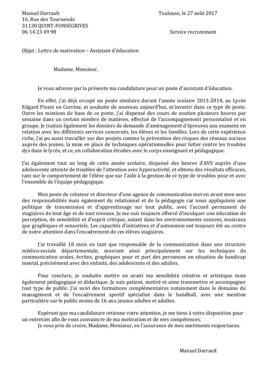 Lettre De Motivation Aed Toulouse Docx Lettre De