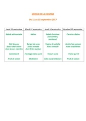 menus de la cantine 11 septembre